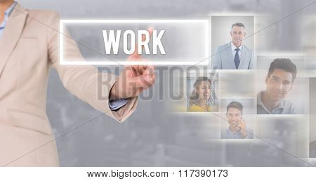 Businesswoman pointing against view of cityscape
