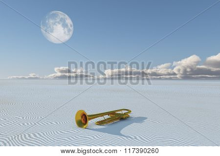 Shiny horn in desert