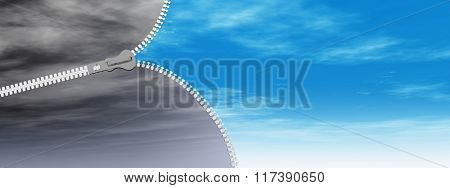 Concept or conceptual 3D abstract zipper from dramatic dark cloudy sky to a sunny summer blue sky with clouds background banner