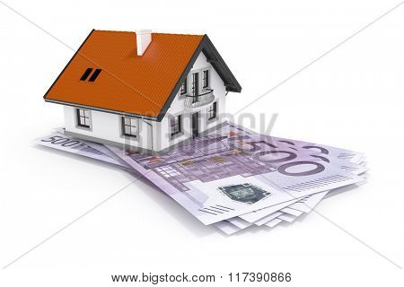 An image of a house above 500 Euro banknotes