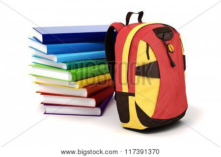 3d school backpack and books on white background