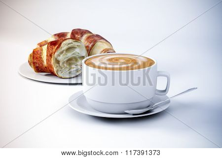3d coffee and croissant
