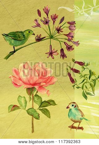 Vintage Postcard Design With Watercolor Drawings Of Birds And Flowers