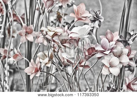 Floral Background. Retro Style Toned Image.