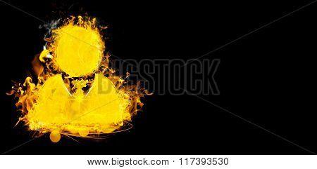 Symbol of businessman on fire against black