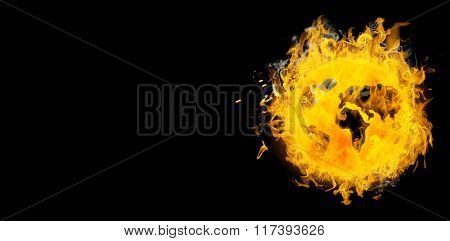 Circle on fire against black