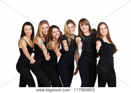 Group Of Young Women Isolated At White
