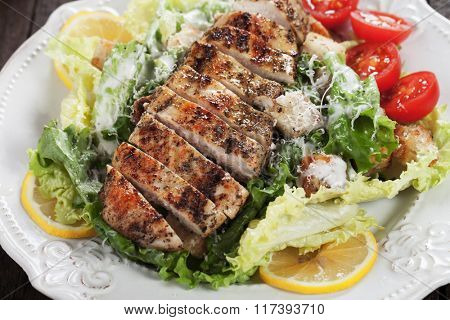 Grilled chicken steak served over caesar salad