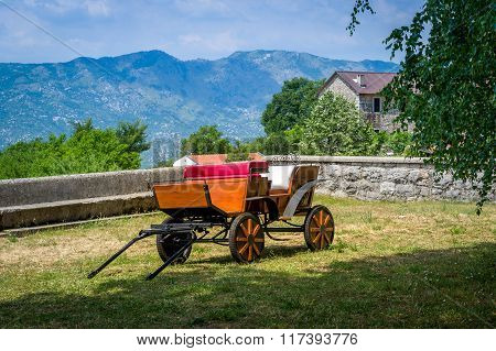 Horsedrawn carriage in Ostrog monastery