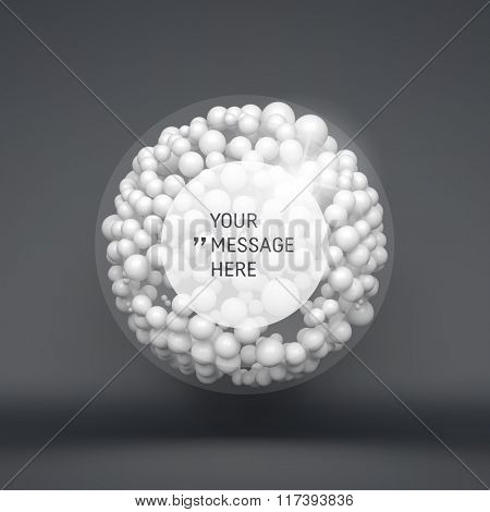 Round Frame with Place for Text. Sphere. 3d Vector Template. 3d Abstract Spheres Composition. Futuristic Technology Style. Idea Concept. Vector illustration for Science, Technology, Network.