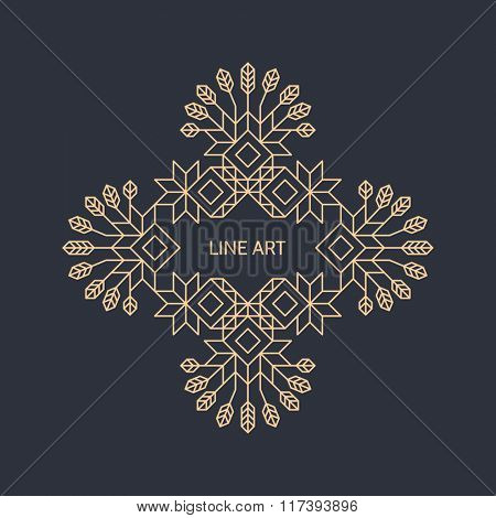 Vector Decorative Line Art Frame. Geometric Vintage Style. Vector Linear Frame. Ornate Element for Design. Totem. With Place for Text. Line Art Design for Invitations, Posters, Business Presentation