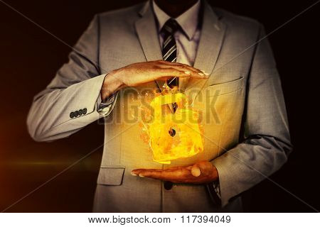 Handsome businessman gesturing with hands against black Handsome businessman gesturing with hands on a white background