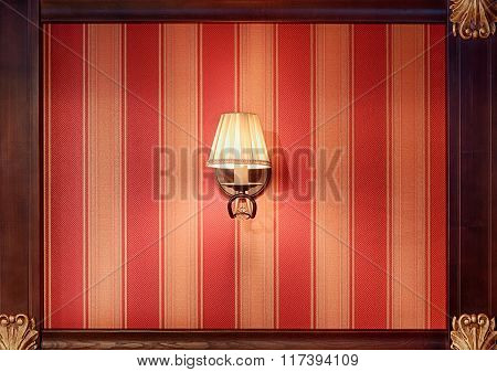 Classic Chandelier Lamp At The Striped Wall