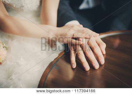 Wedding Couple Hands With Rings Closeup