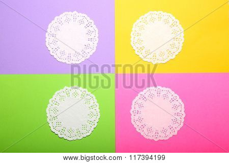 Lace Napkins On Bright Colorful Background