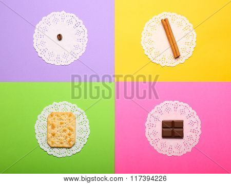 Coffee Bean, Cinnamon, Crispy Cookie And Chocolate Piece On Bright Colorful Background