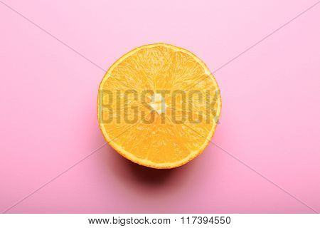 Orange Half On Pink Background