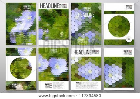 Business templates for brochure, flyer or booklet. Blue flowers on the grass. Collection of abstract