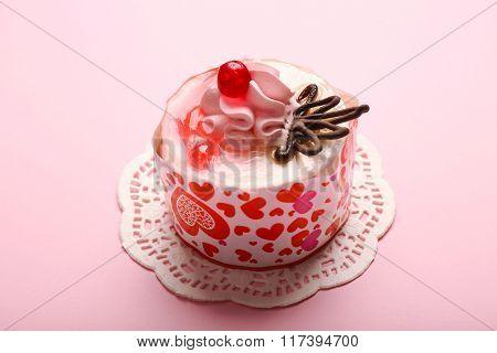 Tasty Cake On Pink Background