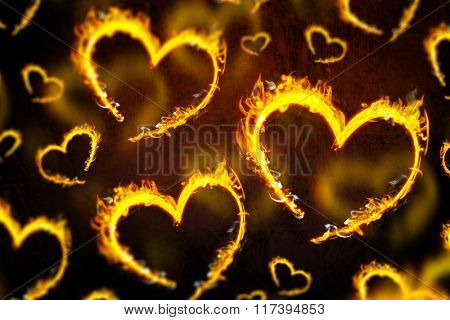 Heart shapes on fire against dark background