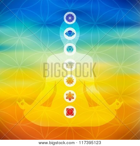 Yoga Pose With Chakra Icons