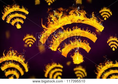 WiFi sign on fire against dark background
