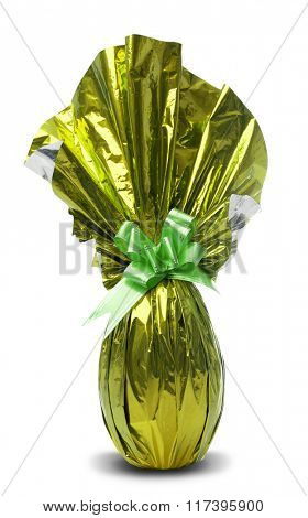 Brazilian Easters Egg in yellow isolated on a white background