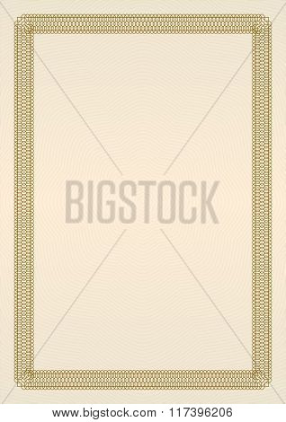Certificate or diploma template with brown ornamental frame. Vector illustration.