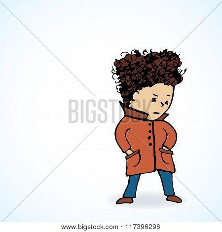 Vector Illustration  Teenager In A Coat  Oooo