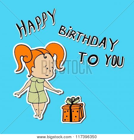 Vector Illustration Of Baby Girl Gift Congratulations
