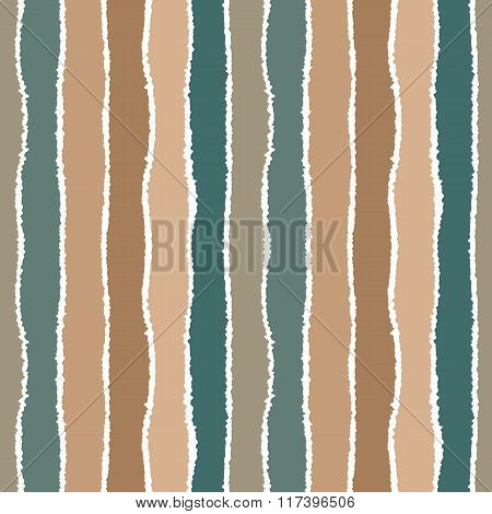Seamless strip pattern. Vertical lines with torn paper effect. Shred edge background. Sea colors in