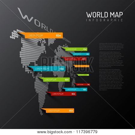 Light World map infographic template with pointer marks (vertical on the dark wall version)