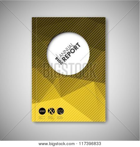 Modern Vector abstract brochure / book / flyer design template - yellow polygon version