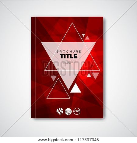 Modern Vector abstract red brochure / book / flyer design template with triangles