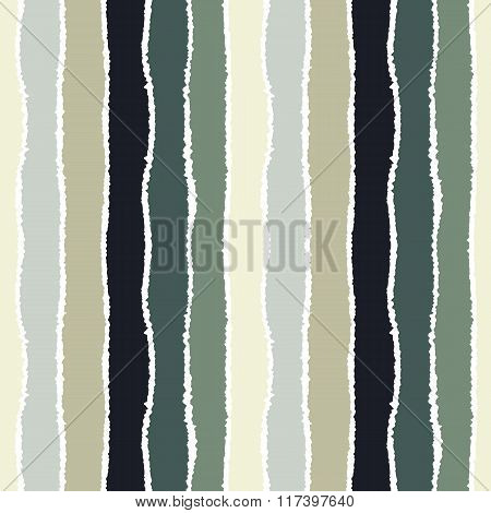 Seamless strip pattern. Vertical lines with torn paper effect. Shred edge background. Cold pastel co