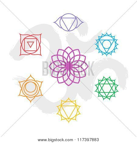 Color Chakra Icon Set Outline With Om Background