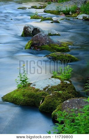 Moss Coverd Rocks In Beautiful Blue Creek