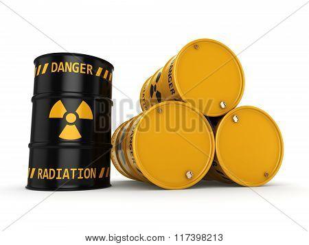 Yellow And Black Radioactive Barrels