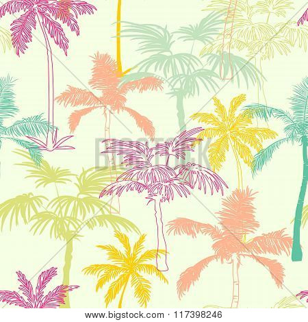 Vector Palm Trees California Pink Green Yellow Seamless Pattern Surface Design With Exotic, Decorati