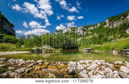 Mountain river landscape of Nevidio canyon