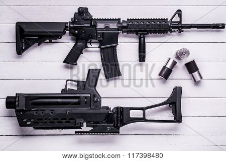 Assault Rifle, Grenade Launcher And Empty Cartridge Case, Top View