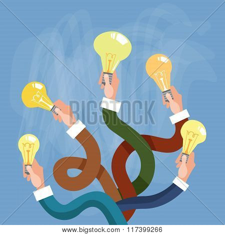 Group Hands Holding Light Electric Bulb New Idea Concept