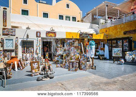 Traditional souvenir shop in Oia town of Santorini island