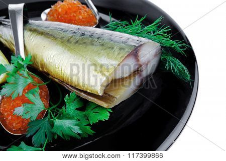 golden smoked herring and fresh red caviar