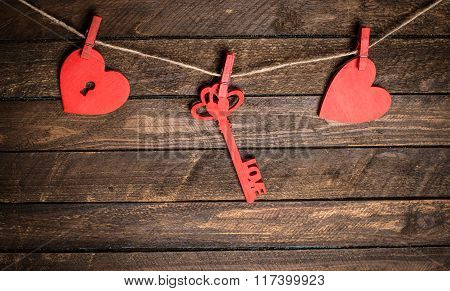 Vintage Card With Red Hearts On Old Wood. Valentines Day Background. Key Of My Heart Concept.