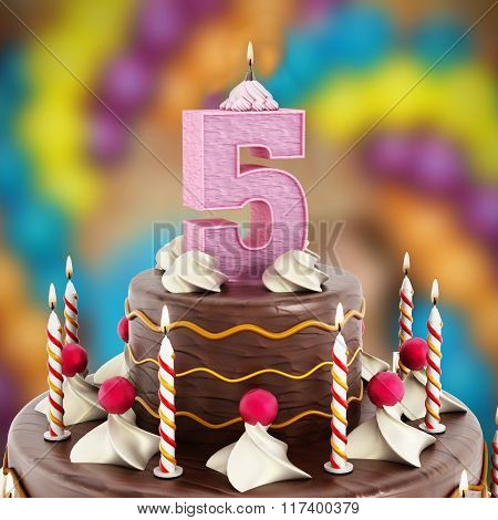 Birthday Cake With Number 5 Lit Candle