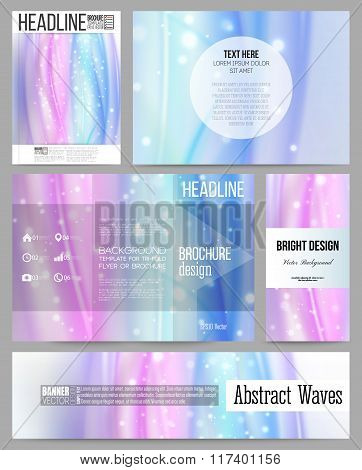 Set of business templates for presentation, brochure, flyer, banner or booklet. Abstract wave vector