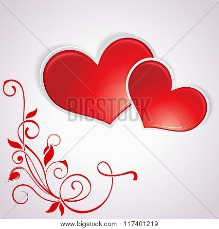 Valentine's Day vector card with two red hearts.