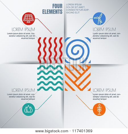 Vector Infographics Design. Four Elements Abstract Illustration And Alternative Energy Icon