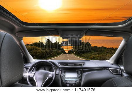 travel by car to the beach